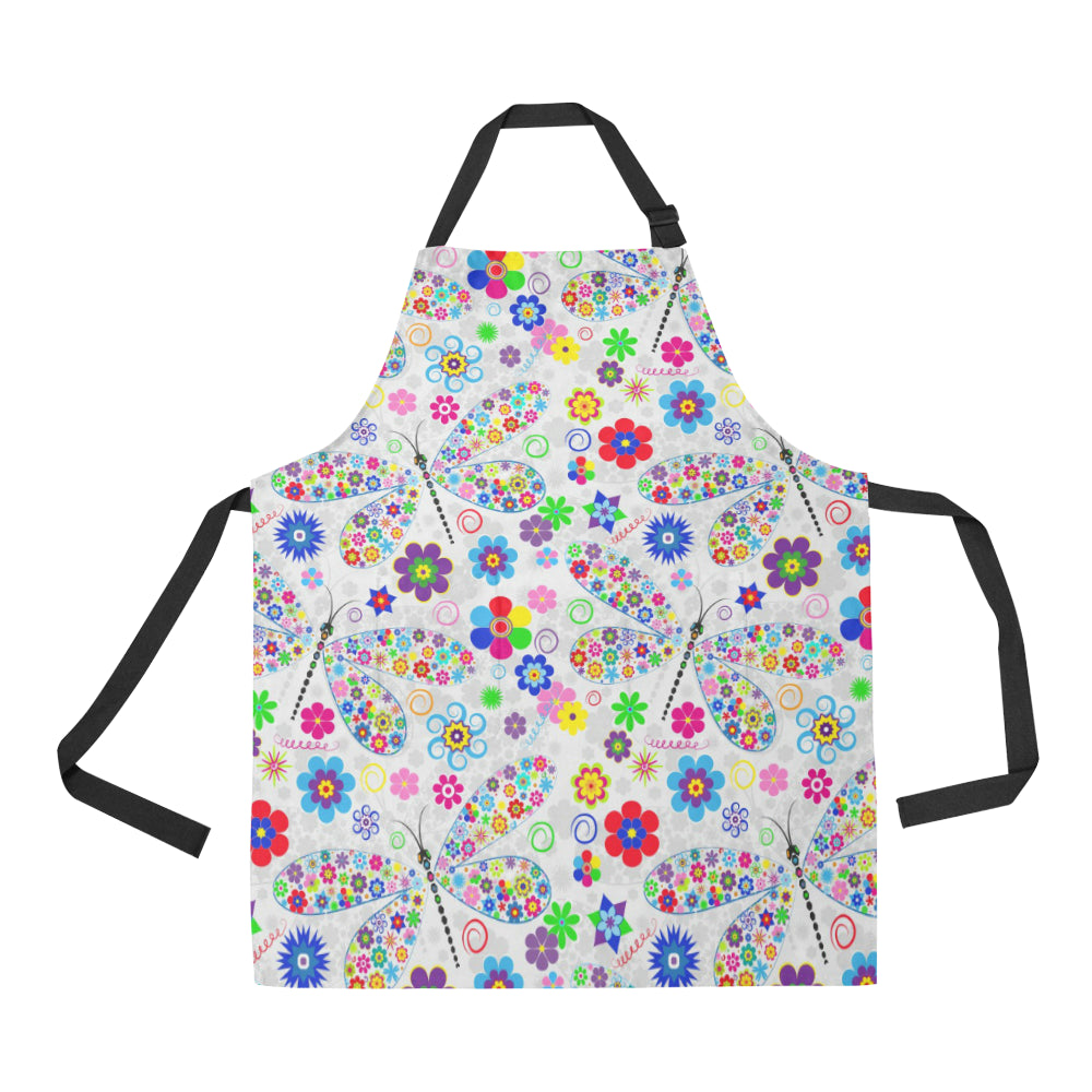 Dragonfly Color Flower Pattern Adjustable Apron