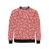 Red and White Candy Spiral Lollipops Pattern Men's Crew Neck Sweatshirt