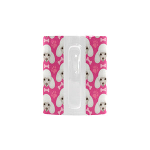 Poodle Pattern Pink background Classical White Mug (FulFilled In US)