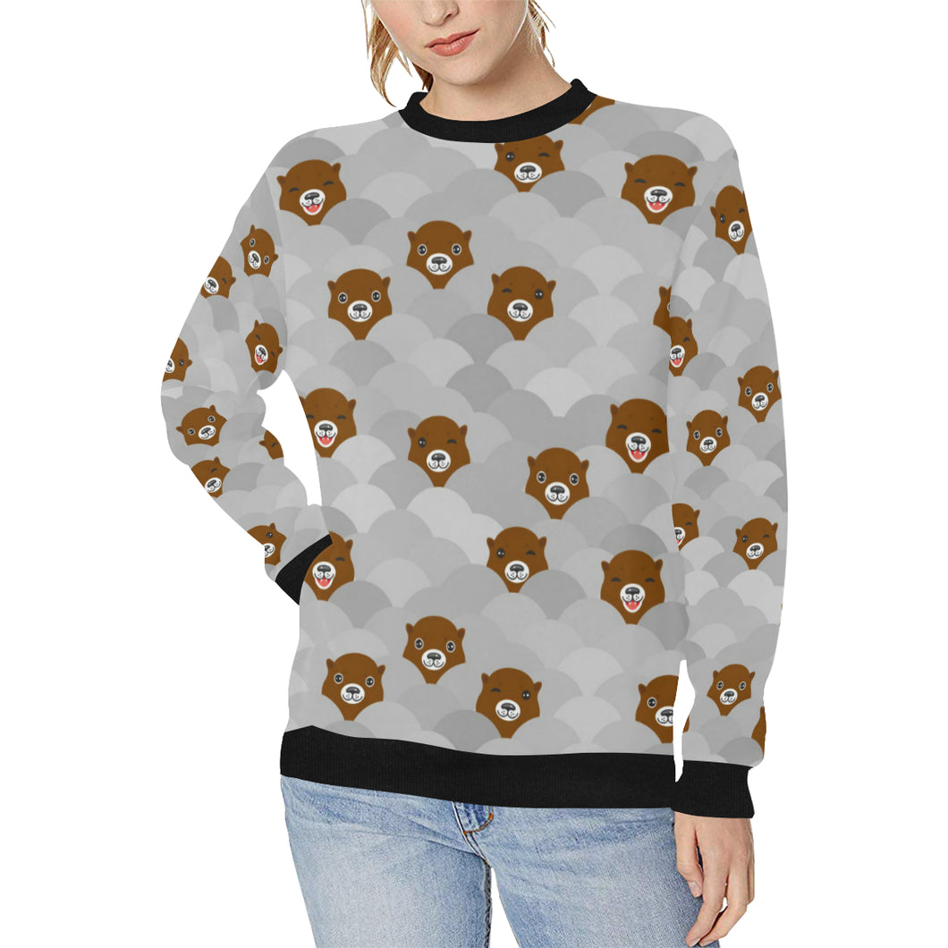 Cute Otter Pattern Women's Crew Neck Sweatshirt