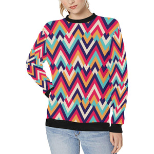 Zigzag Chevron Pattern Background Women's Crew Neck Sweatshirt