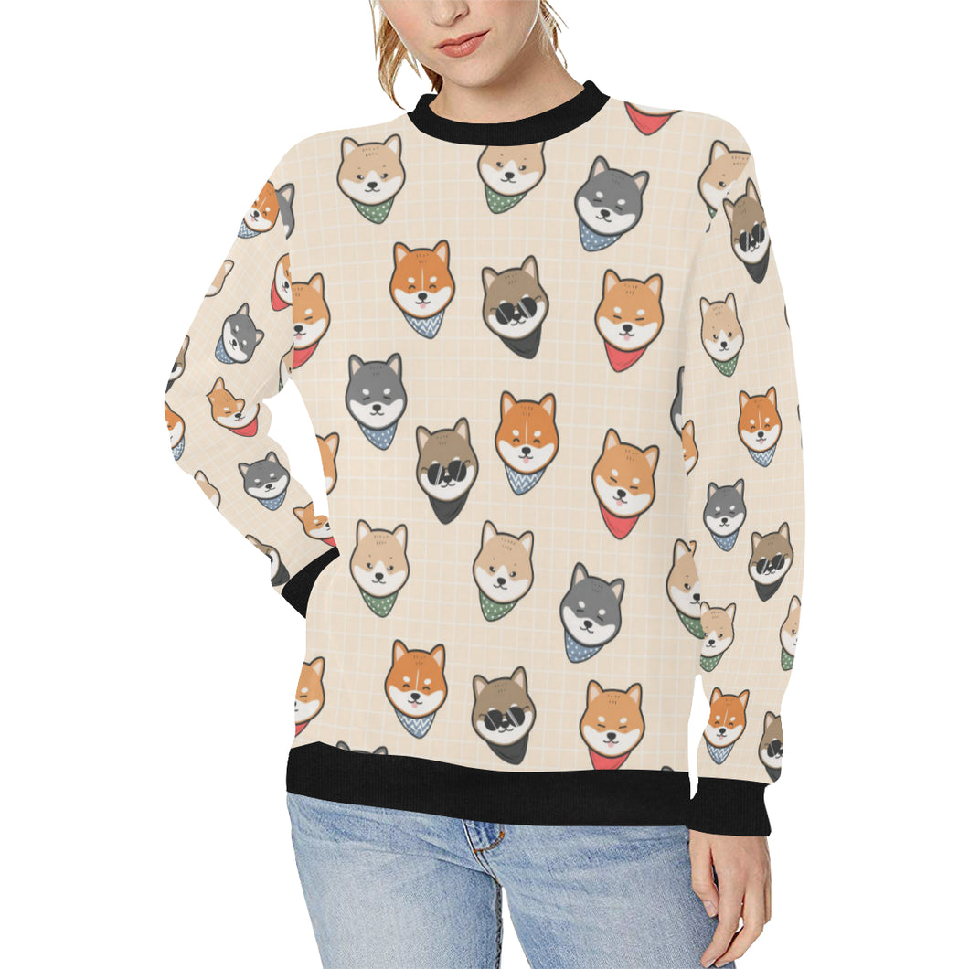 Shiba Inu Head Pattern Women's Crew Neck Sweatshirt