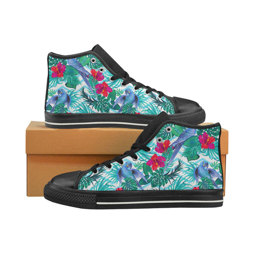 Blue Parrot Hibiscus Pattern Men's High Top Shoes Black (Made In USA)