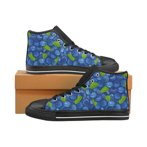 Blueberry Pattern Background Men's High Top Shoes Black (Made In USA)