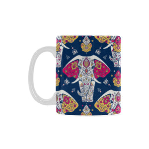 Elephant Pattern Classical White Mug (FulFilled In US)