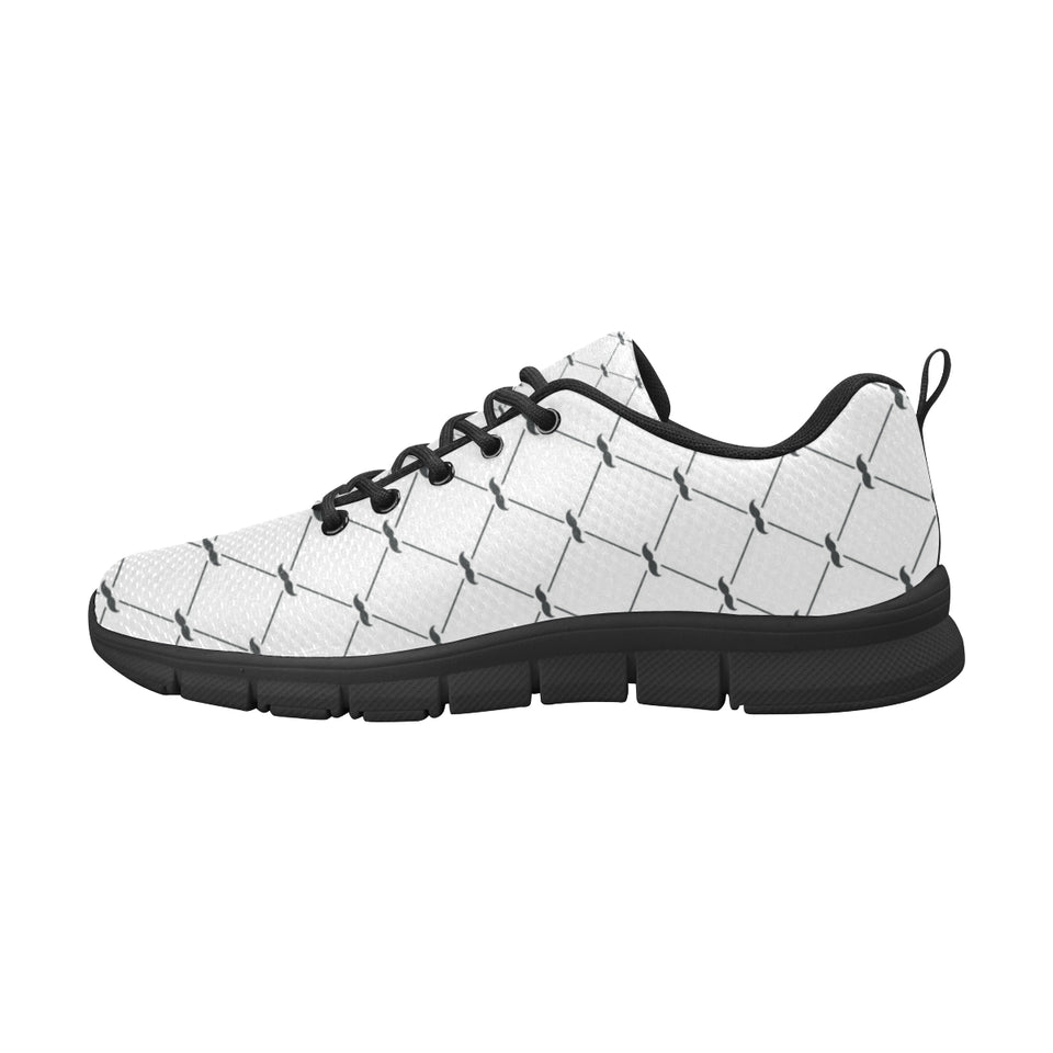 Mustache Beard Pattern Print Design 02 Women's Sneakers Black
