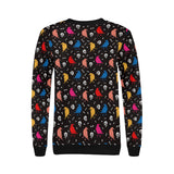 Colorful Crow Pattern Women's Crew Neck Sweatshirt