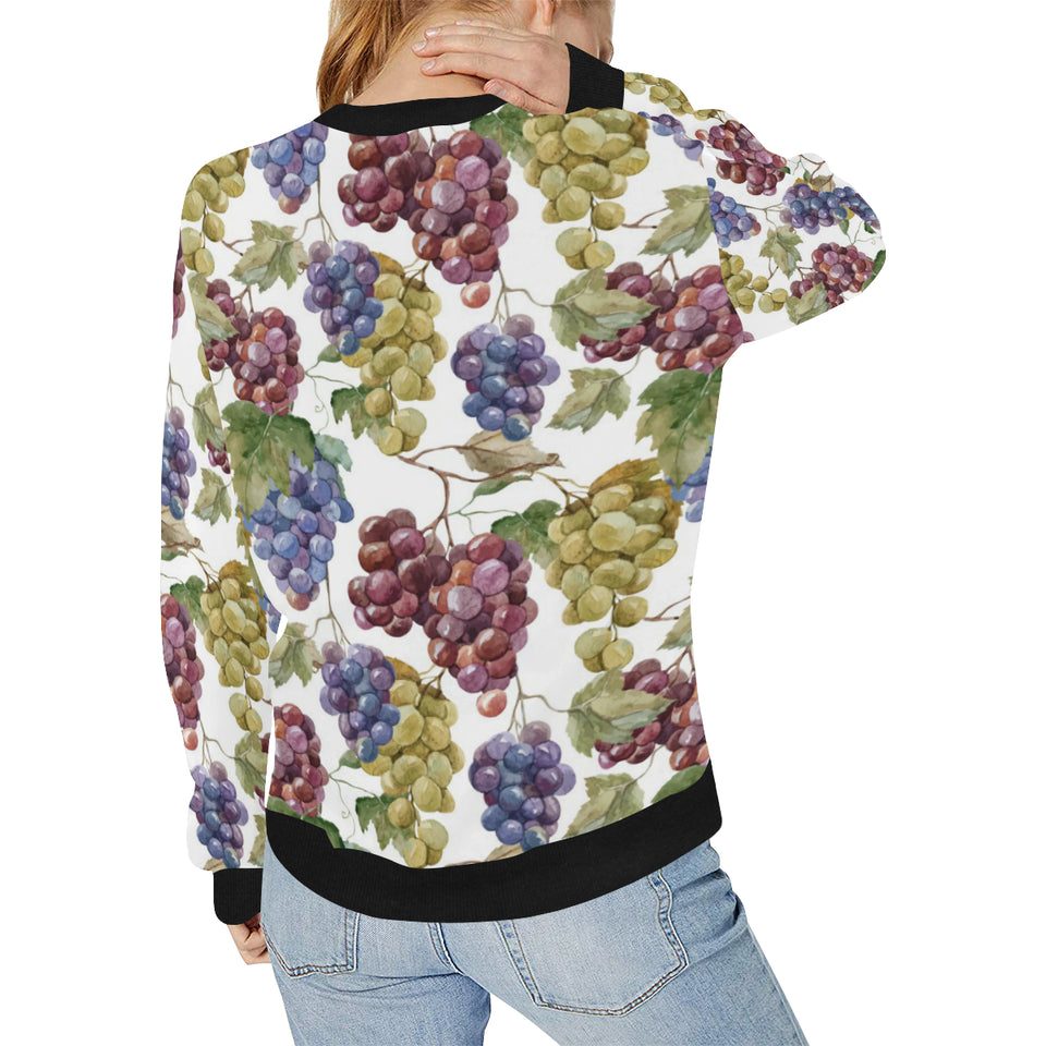 Grape Pattern Women's Crew Neck Sweatshirt
