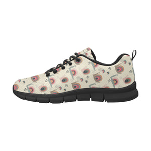 Snail Pattern Print Design 04 Women's Sneakers Black