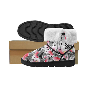 Zebra Red Hibiscus Pattern Mid Calf Snow Boots