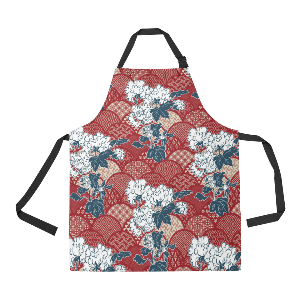 Red Theme Japanese Pattern Adjustable Apron