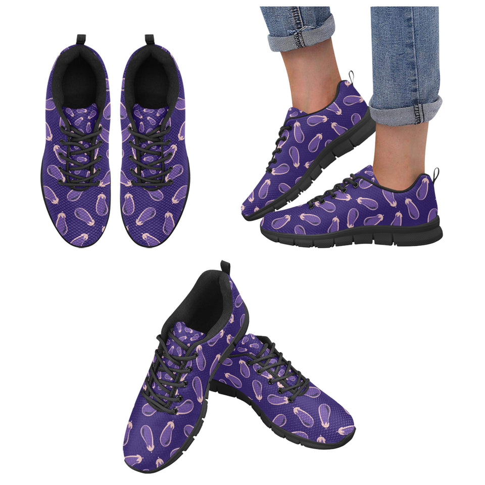 Eggplant Pattern Print Design 02 Women's Sneakers Black