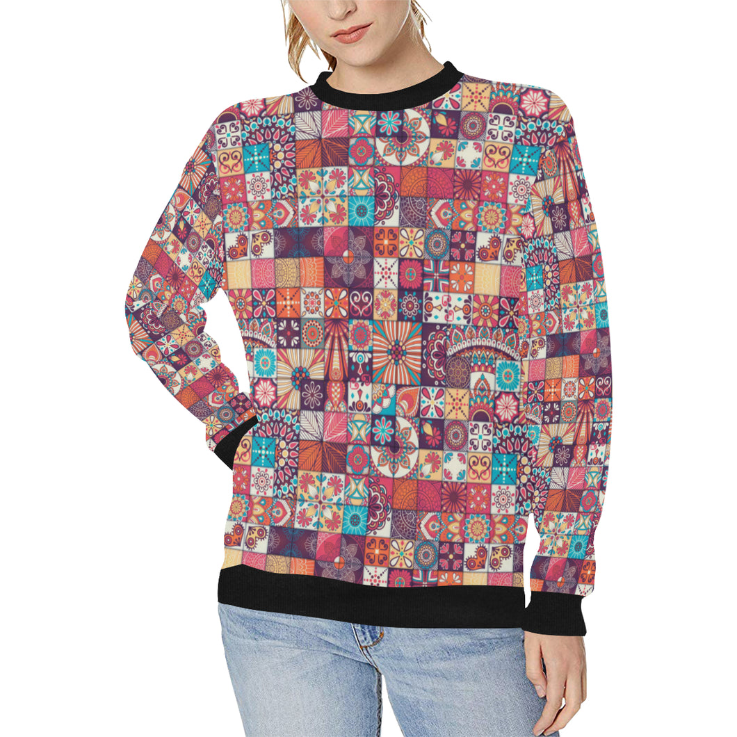 Vintage Decorative Elements Arabic Morocco Pattern Women's Crew Neck Sweatshirt
