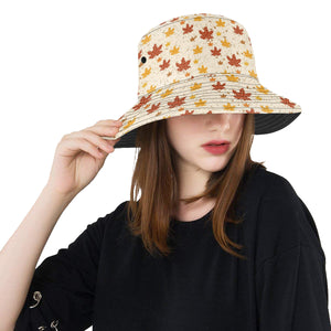 Red and Orange Maple Leaves Pattern Unisex Bucket Hat