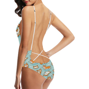 Cute Corgi Pattern Women's One-Piece Swimsuit
