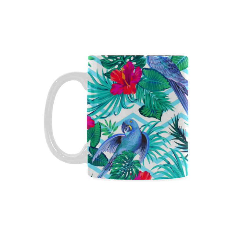 Blue Parrot Hibiscus Pattern Classical White Mug (FulFilled In US)