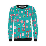 Christmas Candy Pattern Women's Crew Neck Sweatshirt