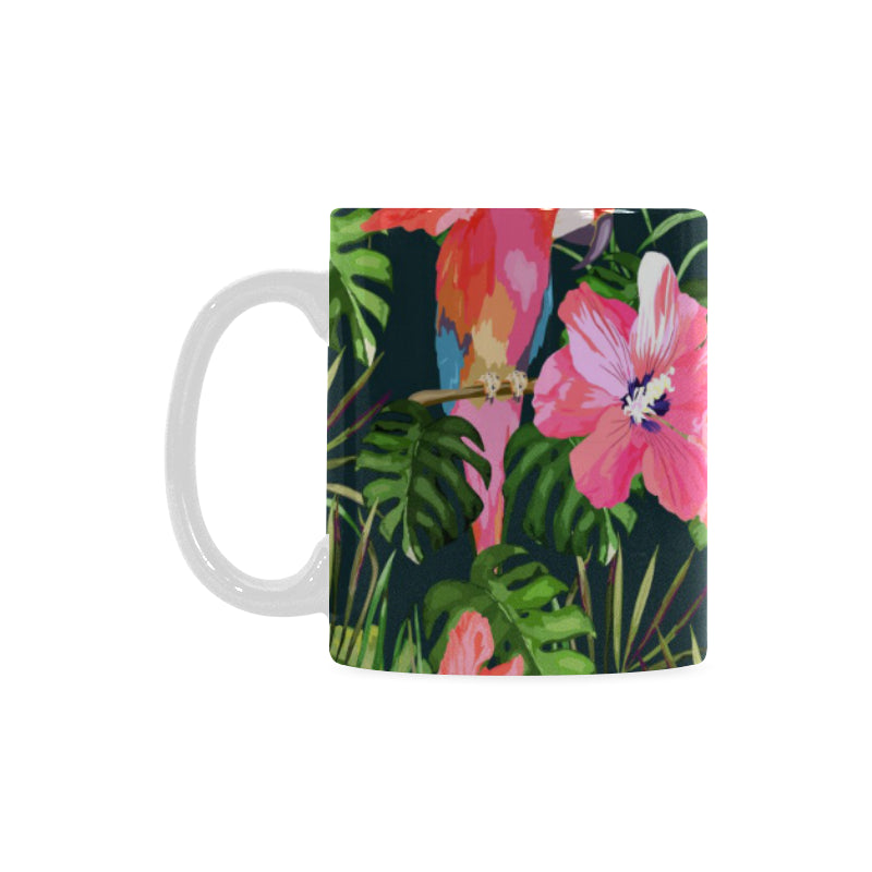 Parrot Leaves Pattern Classical White Mug (FulFilled In US)