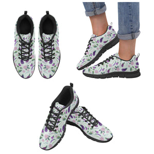 Eggplant Pattern Print Design 03 Women's Sneakers Black