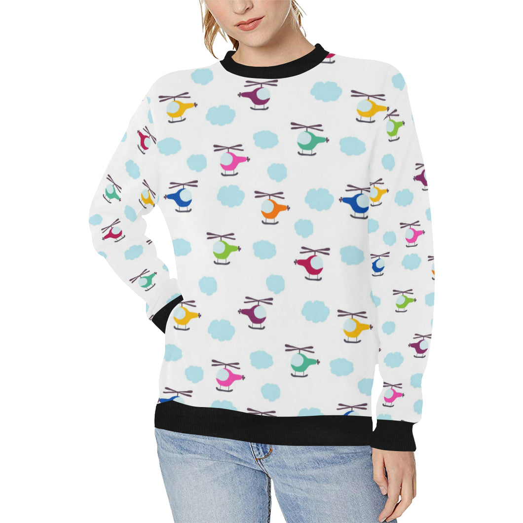 Helicopter Could Pattern Women's Crew Neck Sweatshirt