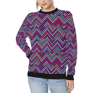 Zigzag Chevron Pokka Dot Aboriginal Pattern Women's Crew Neck Sweatshirt