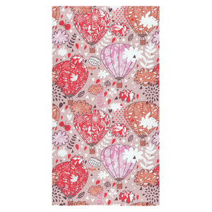 Red Pink Hot Air Balloon Pattern Bath Towel