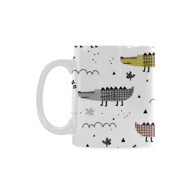 Cute Crocodile Pattern Classical White Mug (FulFilled In US)