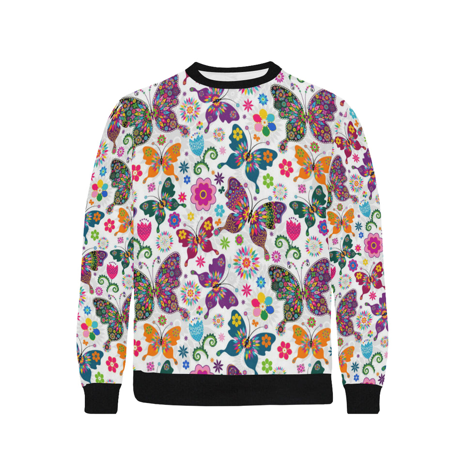 Colorful Butterfly Flower Pattern Men's Crew Neck Sweatshirt