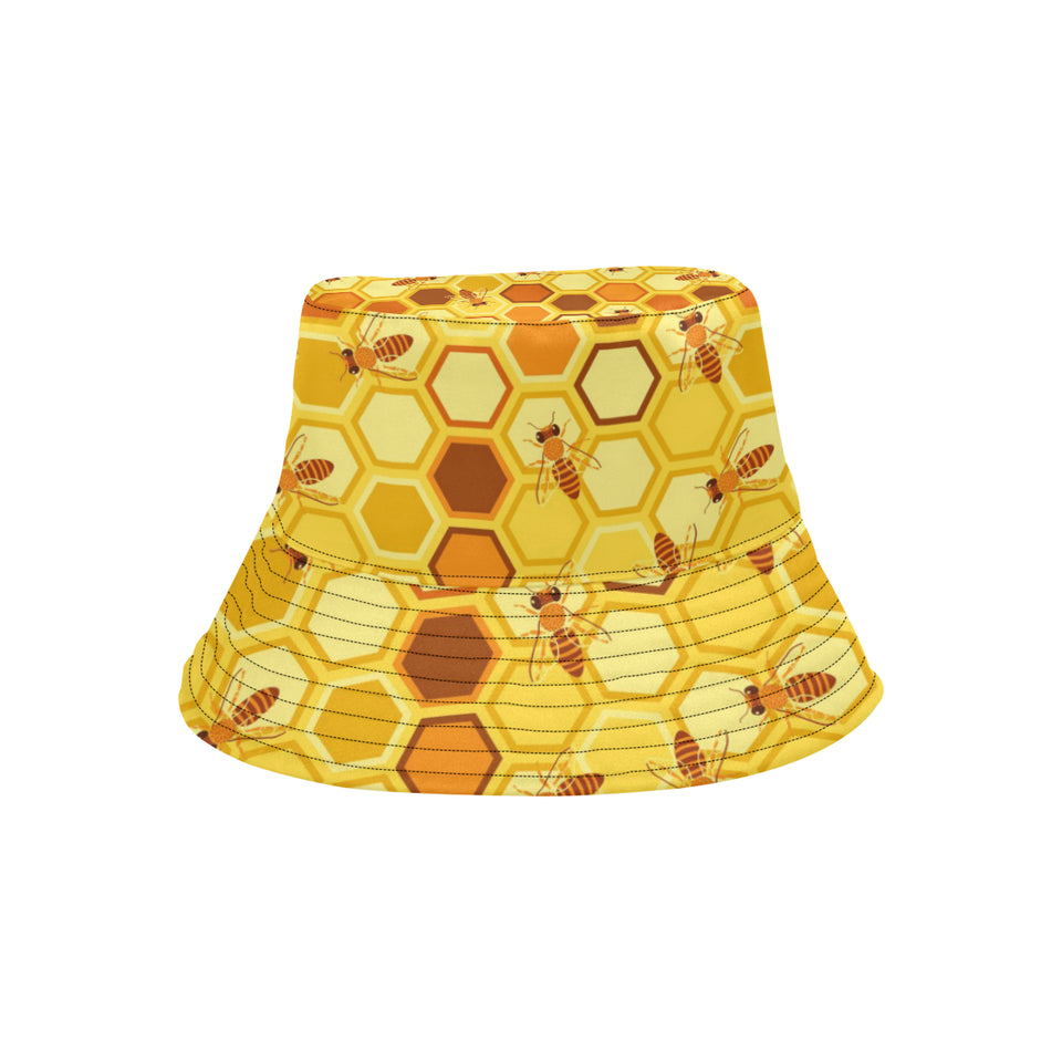 Bee and Honeycomb Pattern Unisex Bucket Hat