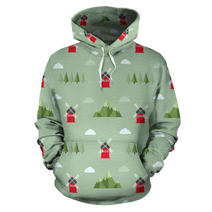 Windmill Green Pattern Men Women Pullover Hoodie