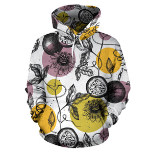 Passion Fruit Pattern Background Men Women Pullover Hoodie