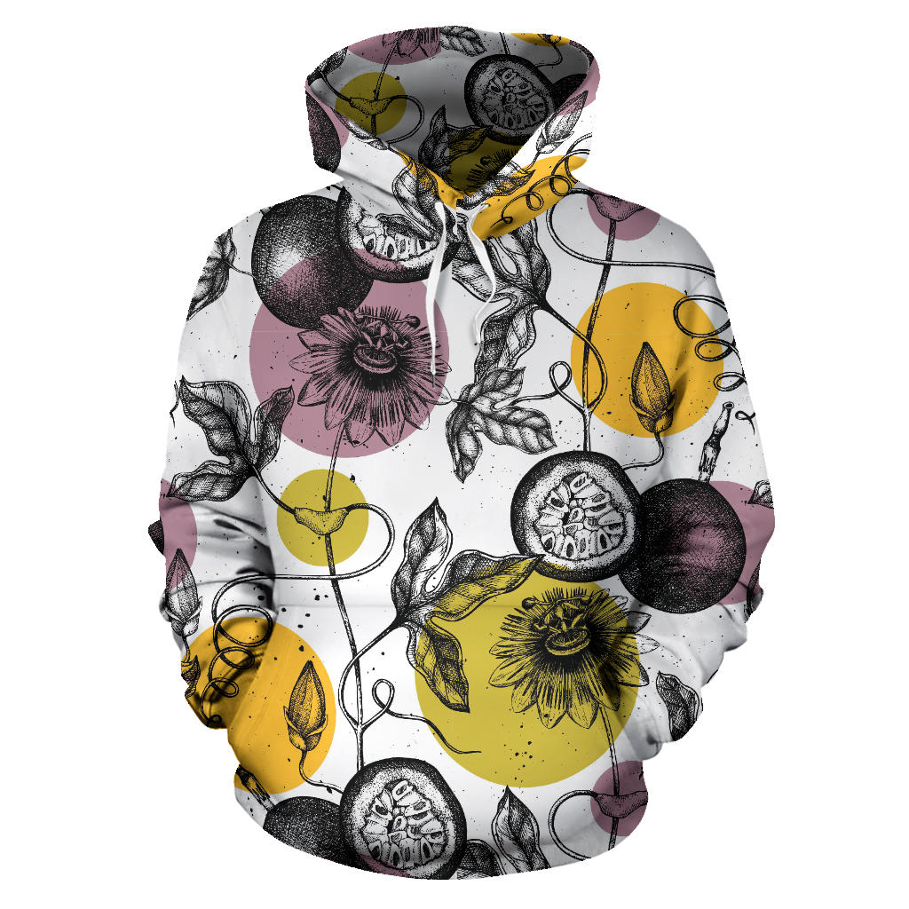 Passion Fruit Pattern Background Pullover Hoodie