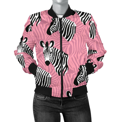 Zebra Head Pattern Women Bomber Jacket