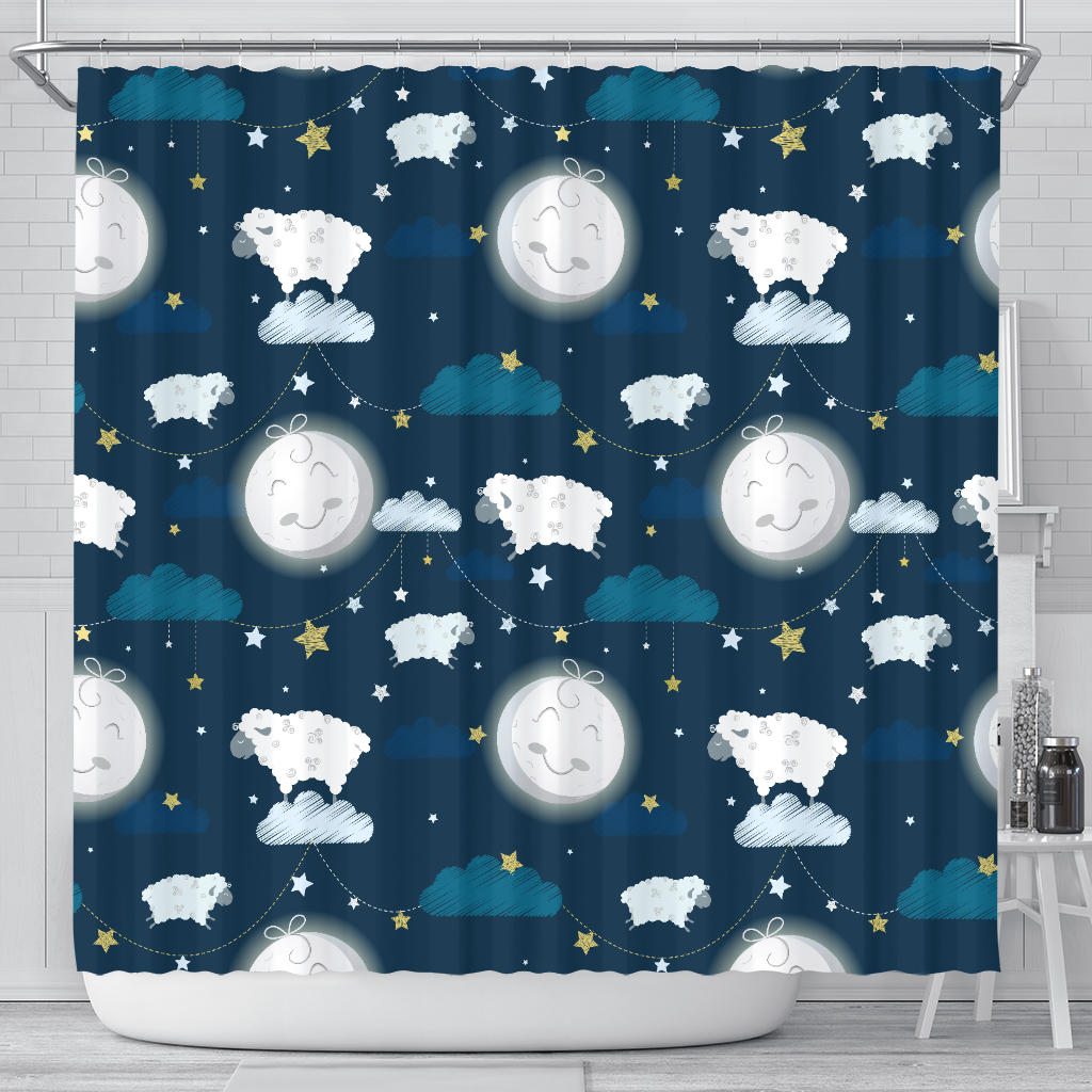 Sheep Playing Could Moon Pattern  Shower Curtain Fulfilled In US