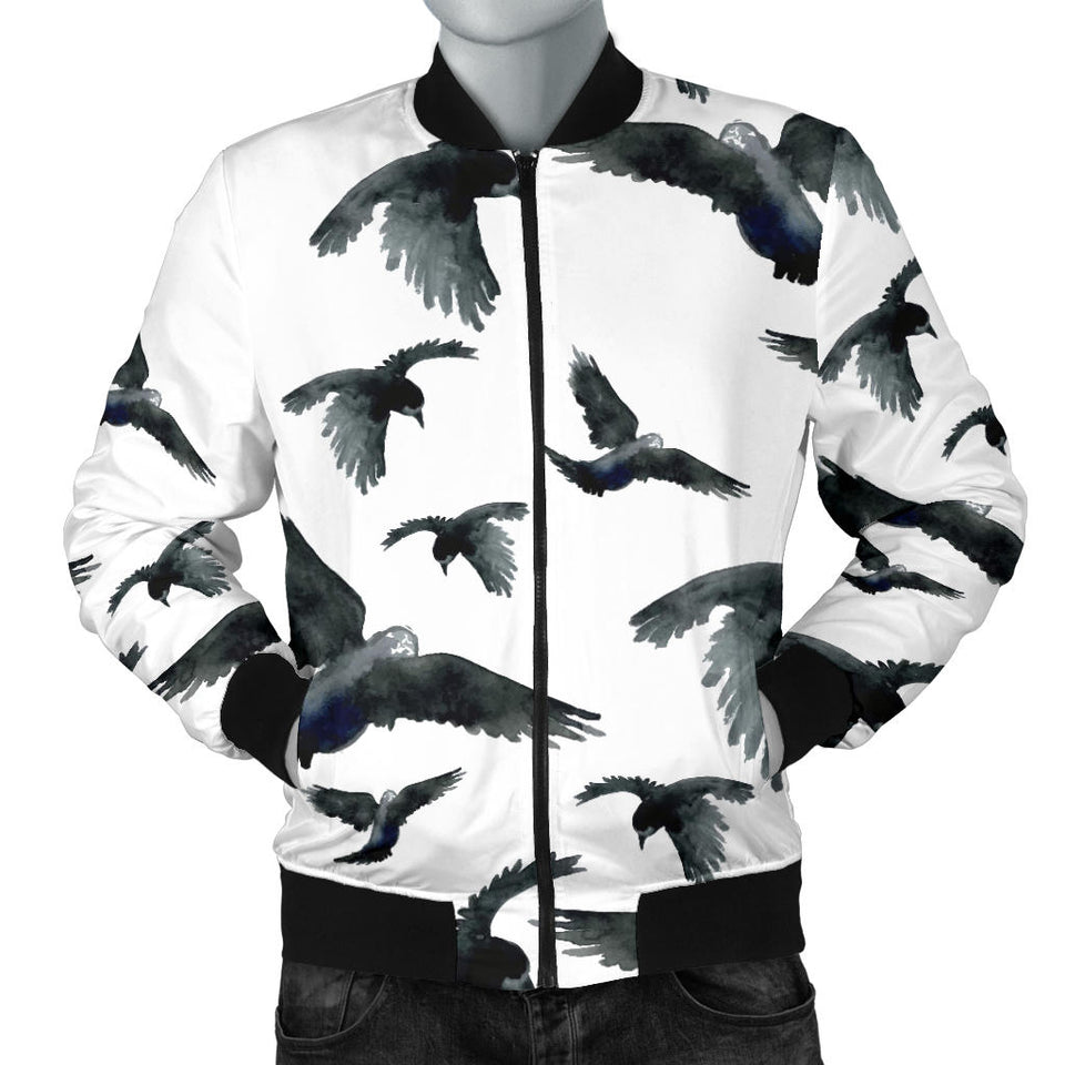 Crow Water Color Pattern Men Bomber Jacket
