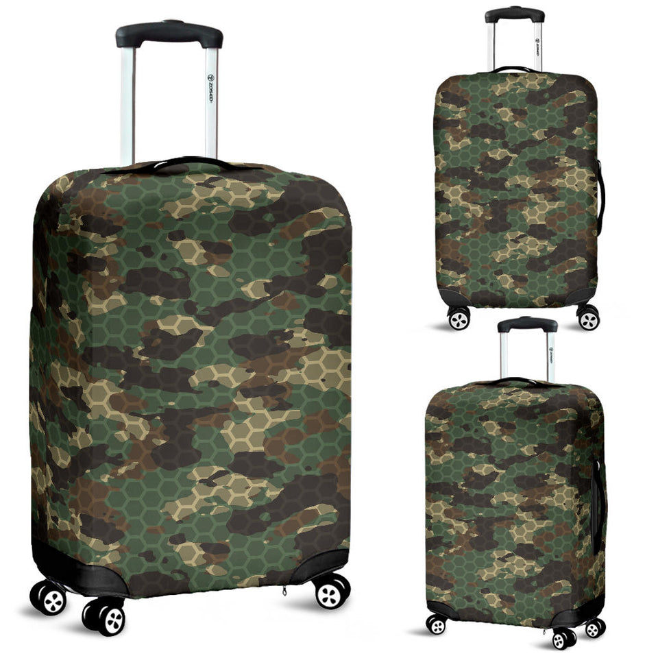 Green Camo Camouflage Honeycomb Pattern Luggage Covers