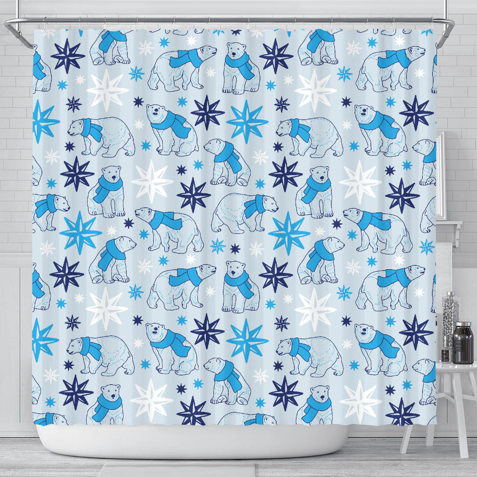 Polar Bear Pattern Blue Background Shower Curtain Fulfilled In US