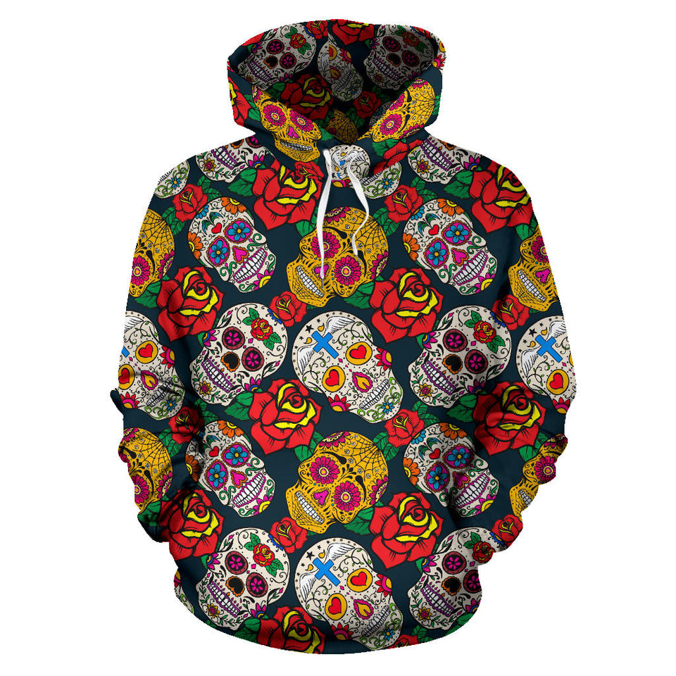 Suger Skull Pattern Background Men Women Pullover Hoodie