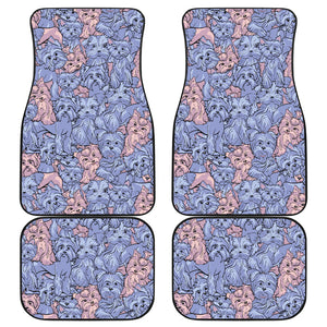 Yorkshire Terrier Pattern Print Design 02 Front and Back Car Mats