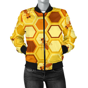 Bee and Honeycomb Pattern Women Bomber Jacket