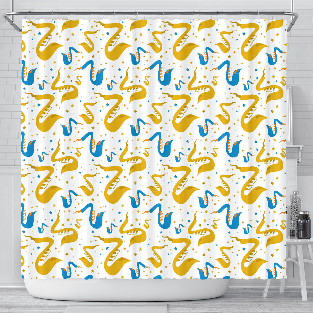 Saxophone Pattern Shower Curtain Fulfilled In US