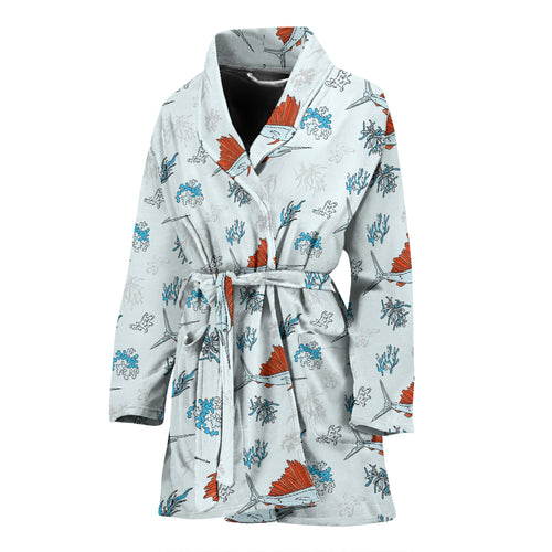 Swordfish Pattern Print Design 03 Women Bathrobe
