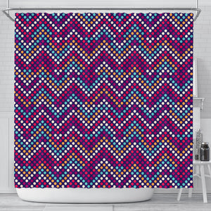 Zigzag Chevron Pokka Dot Aboriginal Pattern Shower Curtain Fulfilled In US
