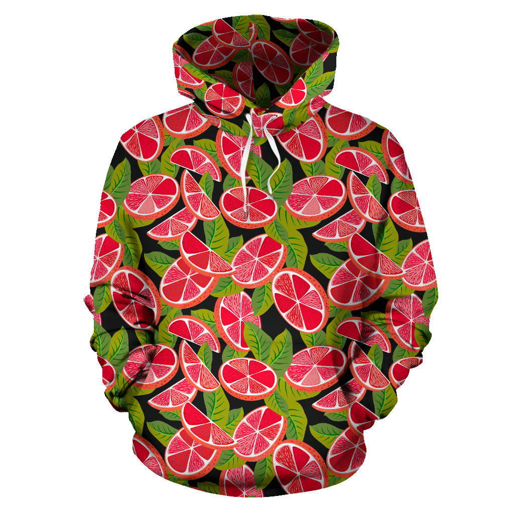 Grapefruit Leaves Pattern Men Women Pullover Hoodie