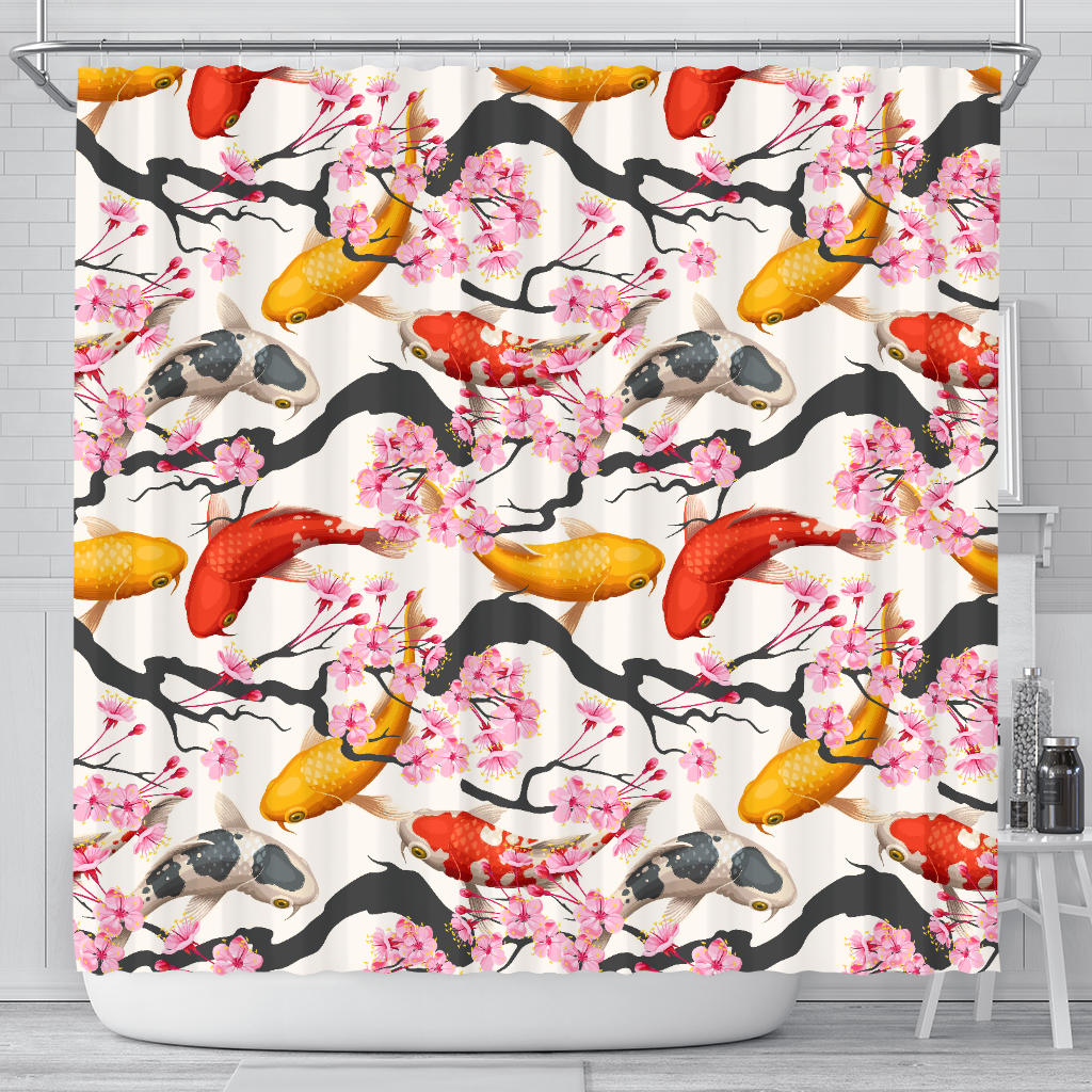Colorful Koi Fish Carp Fish and Sakura Pattern Shower Curtain Fulfilled In US