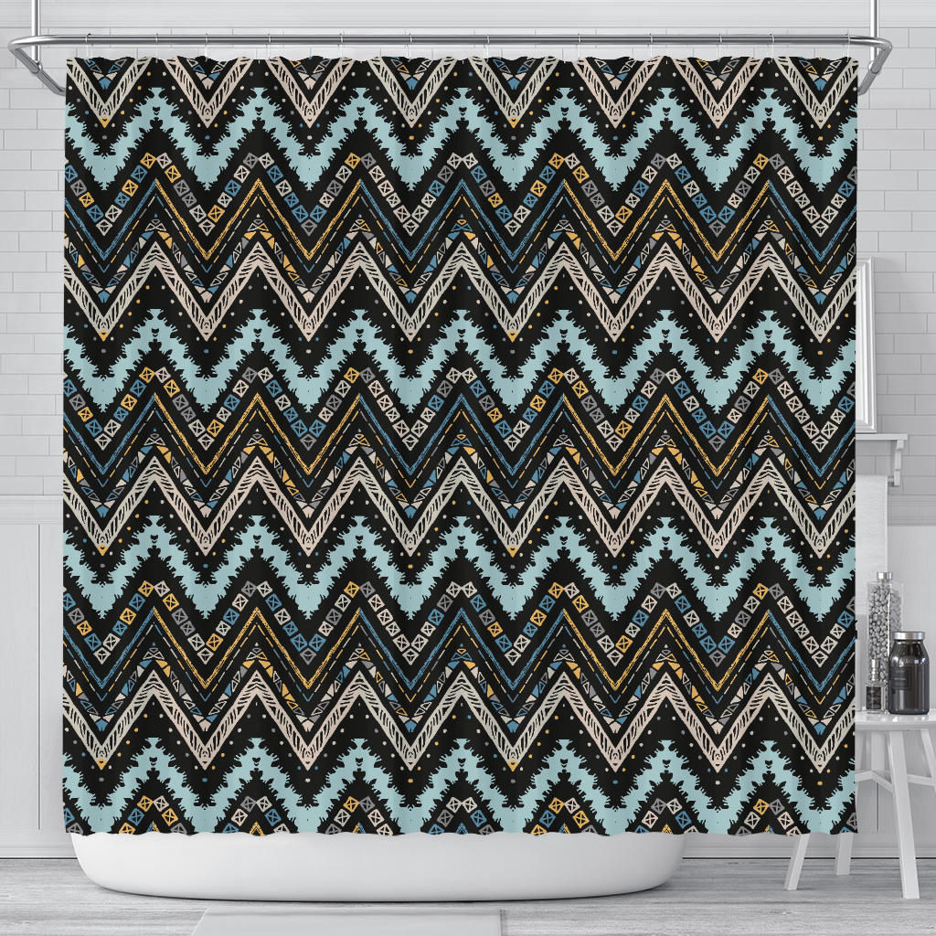 Zigzag Chevron African Afro Dashiki Adinkra Kente Shower Curtain Fulfilled In US
