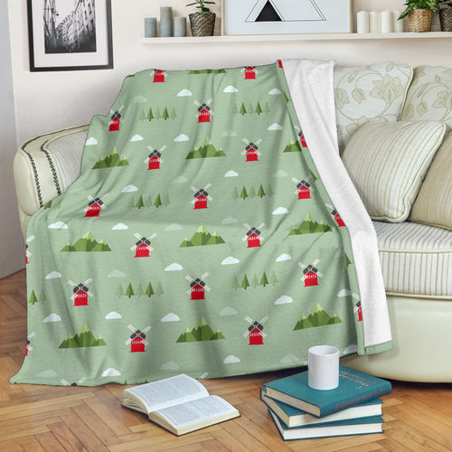Windmill Green Pattern Premium Blanket