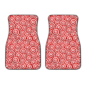 Red and White Candy Spiral Lollipops Pattern Front Car Mats