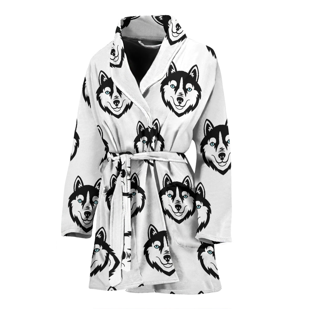 Siberian Husky Pattern Women Bathrobe