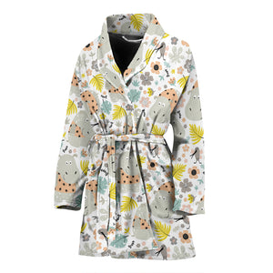 Hippopotamus Pattern Print Design 05 Women Bathrobe